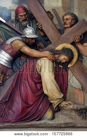 ZAGREB, CROATIA - SEPTEMBER 14: 3rd Stations of the Cross, Jesus falls the first time, Basilica of the Sacred Heart of Jesus in Zagreb, Croatia on September 14, 2015