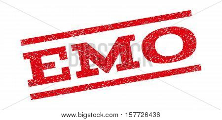 Emo watermark stamp. Text tag between parallel lines with grunge design style. Rubber seal stamp with dirty texture. Vector red color ink imprint on a white background.