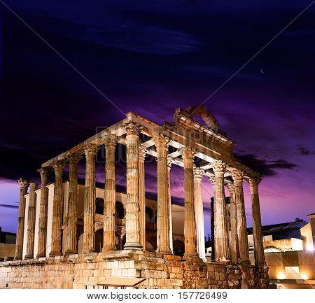 Merida Diana Temple in Badajoz Extremadura of Spain