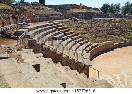 Merida in Badajoz Roman amphitheater at Spain by via de la Plata way