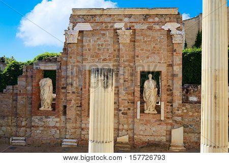 Merida in Badajoz Roman ruins at Spain by Via de la Plata way