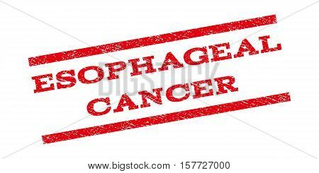 Esophageal Cancer watermark stamp. Text tag between parallel lines with grunge design style. Rubber seal stamp with dust texture. Vector red color ink imprint on a white background. poster
