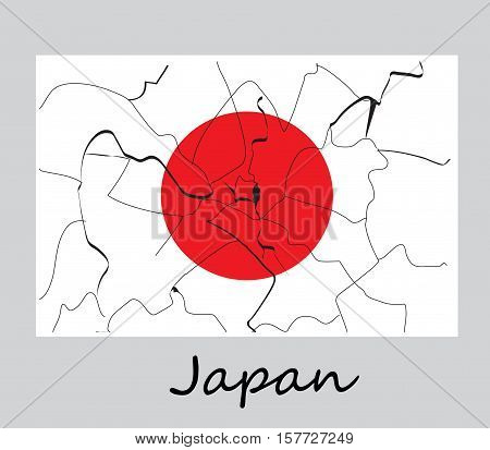 The concept of the earthquake in Japan. Cracks on the flag