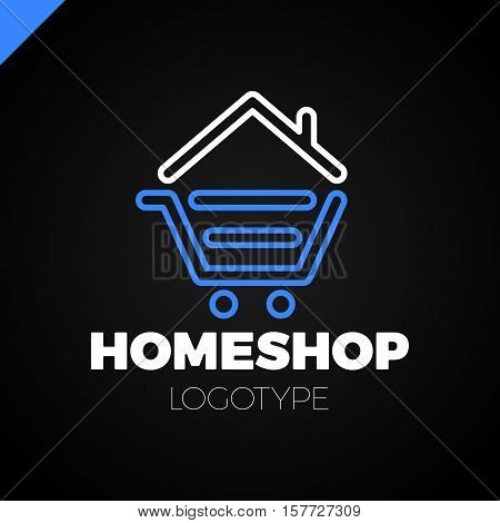 Real Estate House Logo Icon Design Template Elements. Shop Home Logotype. Home Market Logo. Shopping