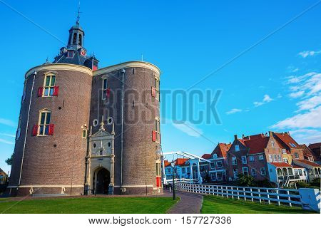 Cityscape With Town Gate Of Enkhuizen, Netherlands