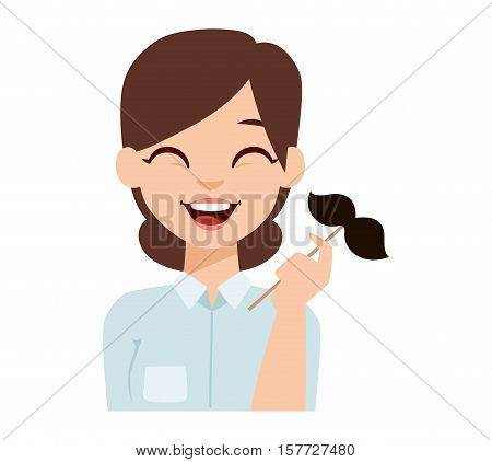 Beard and mustache funny oman emoji face icon and woman emoji face cute symbol. Girl emotion faces cartoon vector illustration. Woman emoji face happy. Cute transsexual face