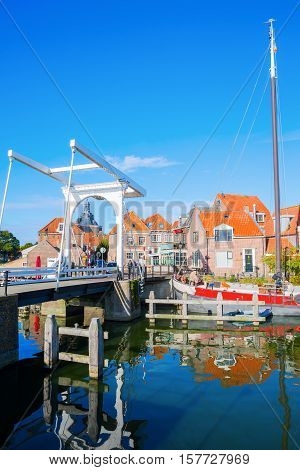Historical Bascule Bridge In Enkhuizen, Netherlands