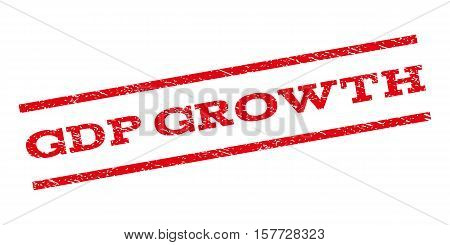 GDP Growth watermark stamp. Text tag between parallel lines with grunge design style. Rubber seal stamp with unclean texture. Vector red color ink imprint on a white background.