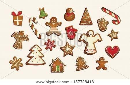 Vector Christmas set of cute gingerbread cookies. vector illustration