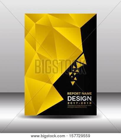 Cover Annual report template vector, business brochure flyer , yellow cover design, book cover, polygon background