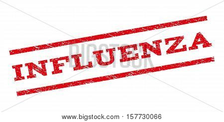 Influenza watermark stamp. Text caption between parallel lines with grunge design style. Rubber seal stamp with dirty texture. Vector red color ink imprint on a white background.