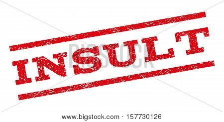Insult watermark stamp. Text tag between parallel lines with grunge design style. Rubber seal stamp with dust texture. Vector red color ink imprint on a white background.