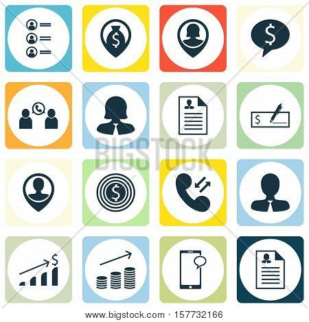 Set Of Hr Icons On Pin Employee, Cellular Data And Phone Conference Topics. Editable Vector Illustra