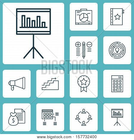 Set Of Project Management Icons On Collaboration, Decision Making And Innovation Topics. Editable Ve