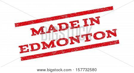 Made In Edmonton watermark stamp. Text tag between parallel lines with grunge design style. Rubber seal stamp with dirty texture. Vector red color ink imprint on a white background.