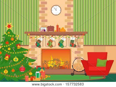 Christmas livingroom flat interior vector illustration. Christmas New Year tree and fireplace with socks. Christmas wall pattern