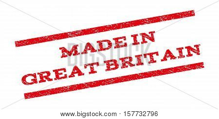 Made In Great Britain watermark stamp. Text caption between parallel lines with grunge design style. Rubber seal stamp with unclean texture. Vector red color ink imprint on a white background.