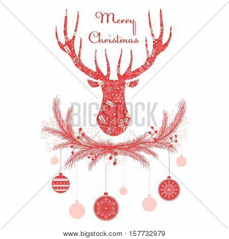 Deer head in wreath with Christmas decorations balls. Merry christmas greeting card vector illustration