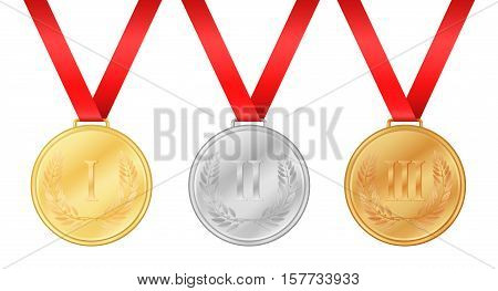 Three olympic games medals. Gold medal. Silver medal. Bronze medal. Laurel leaf on medal. Championship award