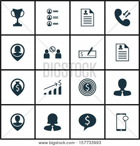 Set Of Management Icons On Business Goal, Messaging And Business Deal Topics. Editable Vector Illust