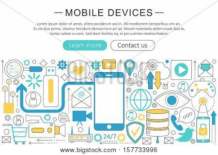 Vector modern line flat design Mobile devices, gadgets concept. Smart mobile gadgets technology icons Website Header, app design poster banner