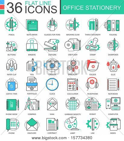 Vector Office stationery color flat line outline icons for apps and web design. Stationery icons elements