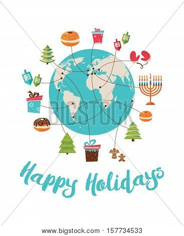 merry christmas and happy hanukkah. global celebrationvector illustration