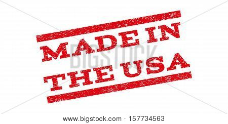 Made In The USA watermark stamp. Text tag between parallel lines with grunge design style. Rubber seal stamp with dust texture. Vector red color ink imprint on a white background.