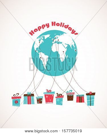 Global Holiday season. world wide gift delivery. vector illustration
