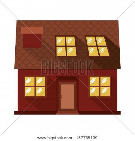 facade confortable house with attic vector illustration