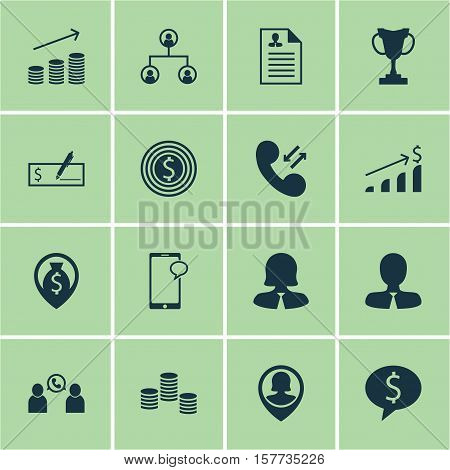 Set Of Management Icons On Pin Employee, Successful Investment And Money Navigation Topics. Editable