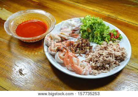 spicy shrimp and wing bean salad with tamarind sauce prepare to cook on dish
