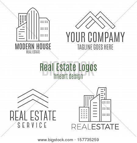 Set of real estate logo designs in lineart style. Monochrome