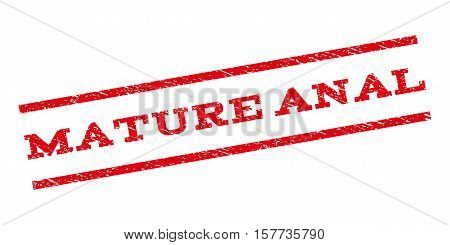 Mature Anal watermark stamp. Text tag between parallel lines with grunge design style. Rubber seal stamp with unclean texture. Vector red color ink imprint on a white background.