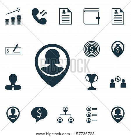 Set Of Management Icons On Tree Structure, Wallet And Curriculum Vitae Topics. Editable Vector Illus
