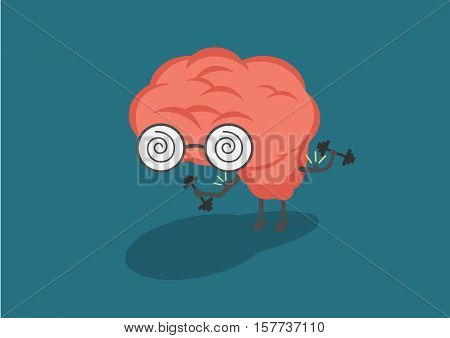 Vector illustration of pastel color smile pink brain with glasses lifts with dumbbells on blue background. Fitness cartoon brain concept. Thin line art flat design of brain for sport