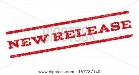 New Release watermark stamp. Text tag between parallel lines with grunge design style. Rubber seal stamp with scratched texture. Vector red color ink imprint on a white background.