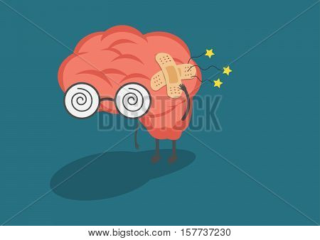vector cartoon human brain ache.Used for work related to the second and nervous system or head ache symptom.