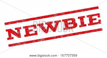 Newbie watermark stamp. Text tag between parallel lines with grunge design style. Rubber seal stamp with dust texture. Vector red color ink imprint on a white background.