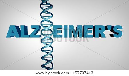 Alzheimer and alzheimer's disease genetics as text with a dna double helix strand as a dementia mental health and neurological medical gene therapy and brain research concept as a 3D illustration.