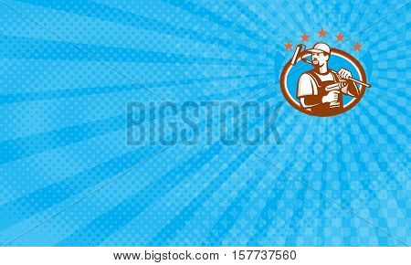 Business card showing Illustration of a handyman with beard moustache facial hair holding paint roller on shoulder and cordless drill looking to side set inside oval shape with stars done in retro style.