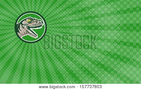 Business card showing Illustration of a raptor t-rex dinosaur lizard reptile head viewed from side set inside circle done in retro style.