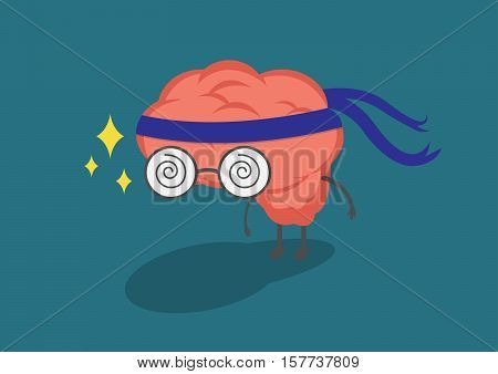 Brain cloth headband represents the efforts of research and development.Vector and illustration cute brain cartoon.