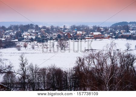 Russian village in winter sunset background hd