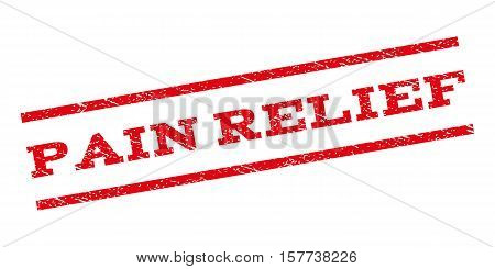 Pain Relief watermark stamp. Text tag between parallel lines with grunge design style. Rubber seal stamp with scratched texture. Vector red color ink imprint on a white background.