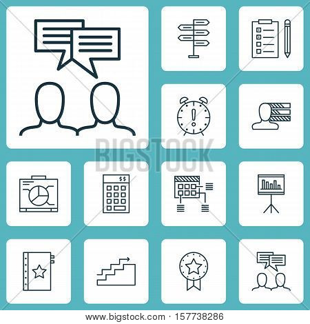 Set Of Project Management Icons On Time Management, Warranty And Present Badge Topics. Editable Vect