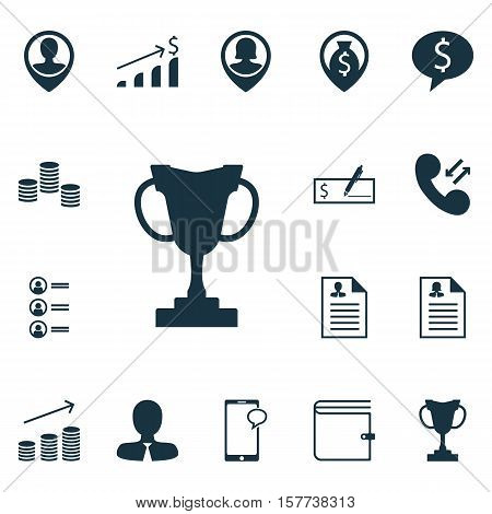 Set Of Management Icons On Bank Payment, Job Applicants And Curriculum Vitae Topics. Editable Vector
