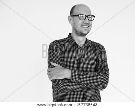 Man Cheerful Studio Portrait Concept