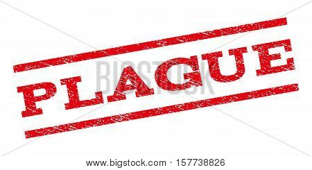 Plague watermark stamp. Text tag between parallel lines with grunge design style. Rubber seal stamp with dirty texture. Vector red color ink imprint on a white background.