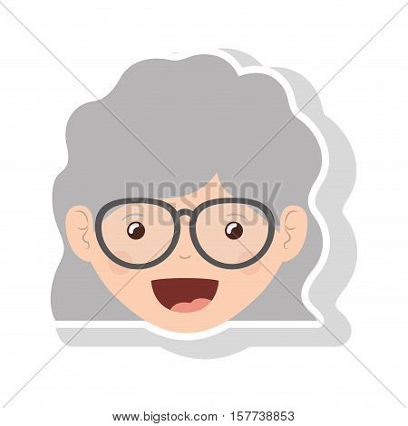 front face elderly woman wavy hair with glasses vector illustration